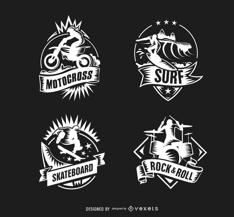 Motocross Surf Skateboard Schlagzeuger Logos