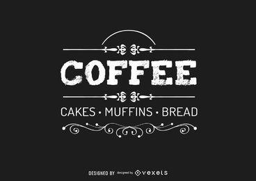 Logotipo do café vintage com redemoinhos rústicos