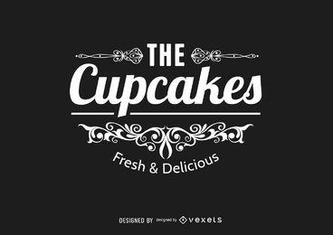 Retro wirbelt kleiner Kuchen-Logo-Siegel