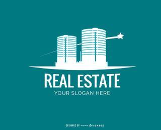 Logotipo de bienes raíces de edificios modernos