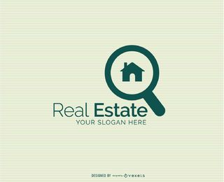 Magnifying House Real Estate Logo