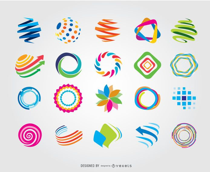 Creative Circle Globe Logotipos de colores