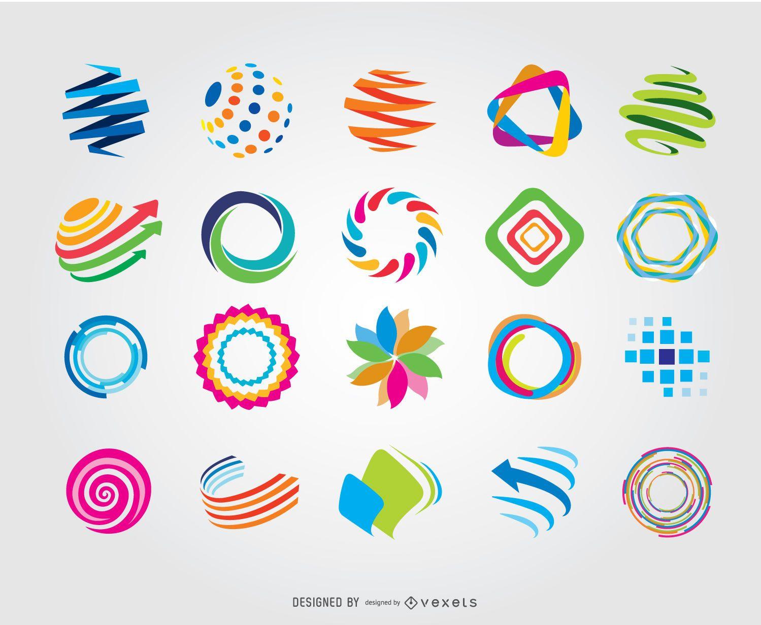 Logos coloridos del globo del círculo creativo