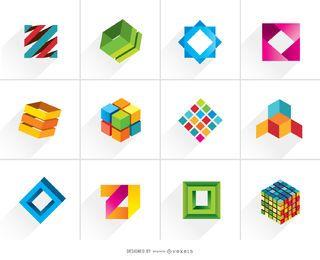 Logotipos coloridos cúbicos 3D creativos