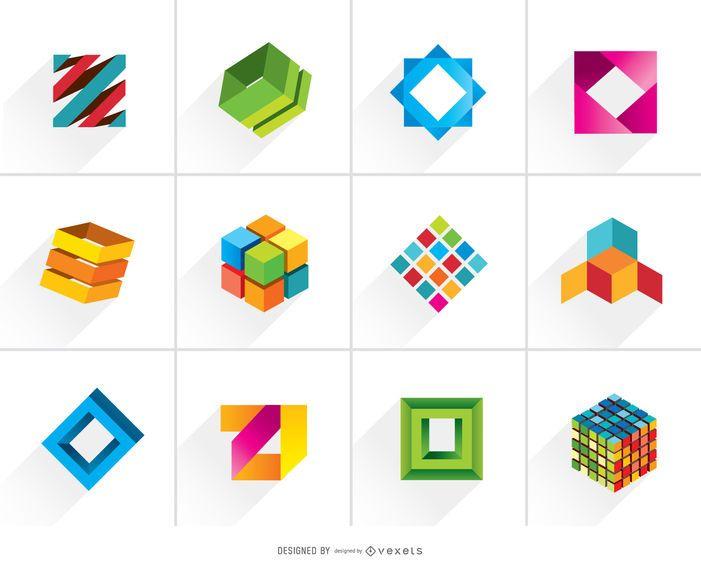 Criativo 3D Logos coloridos cúbicos