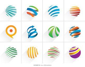 Conjunto de logotipo espiral brilhante do globo