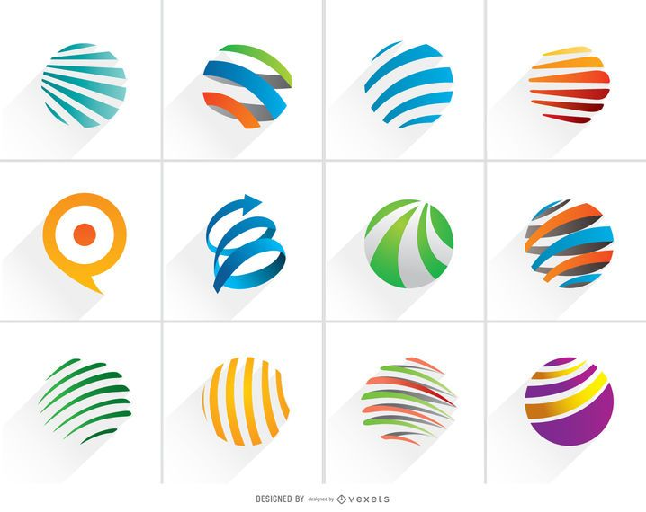 Colorful Spiral Globe Logo Set
