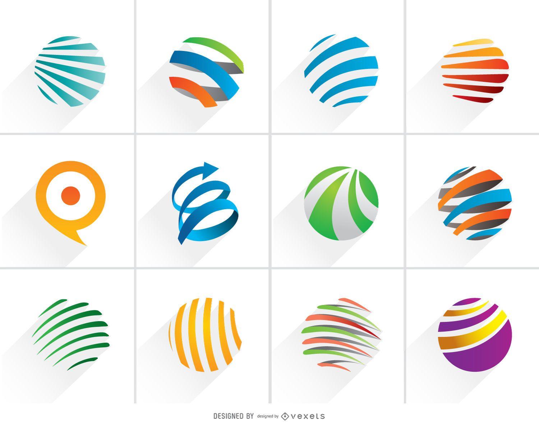 Colorful Spiral Globe Logo Set