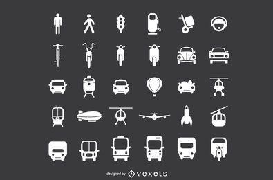 Conjunto de iconos planos de transporte