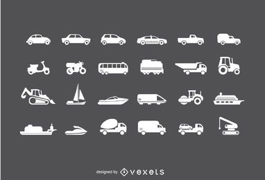 Conjunto de ícones de veículos