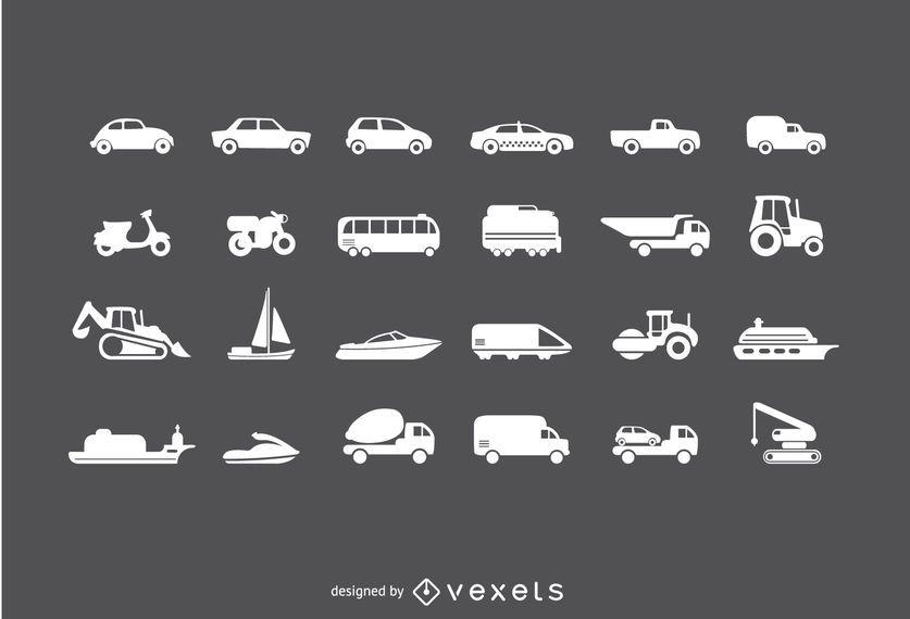 Conjunto de iconos de vehículos