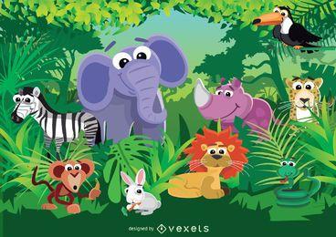 Animales de dibujos animados en la ilustración de la selva