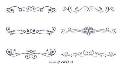 Conjunto de decoração ornamentado caligráfico