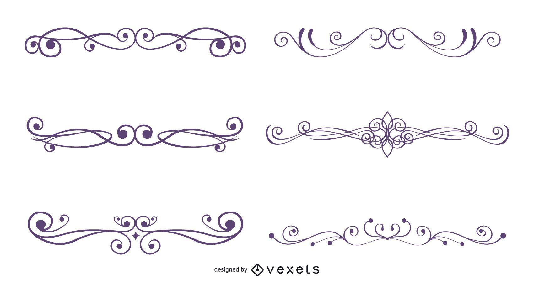 Conjunto de decoración ornamental caligráfica
