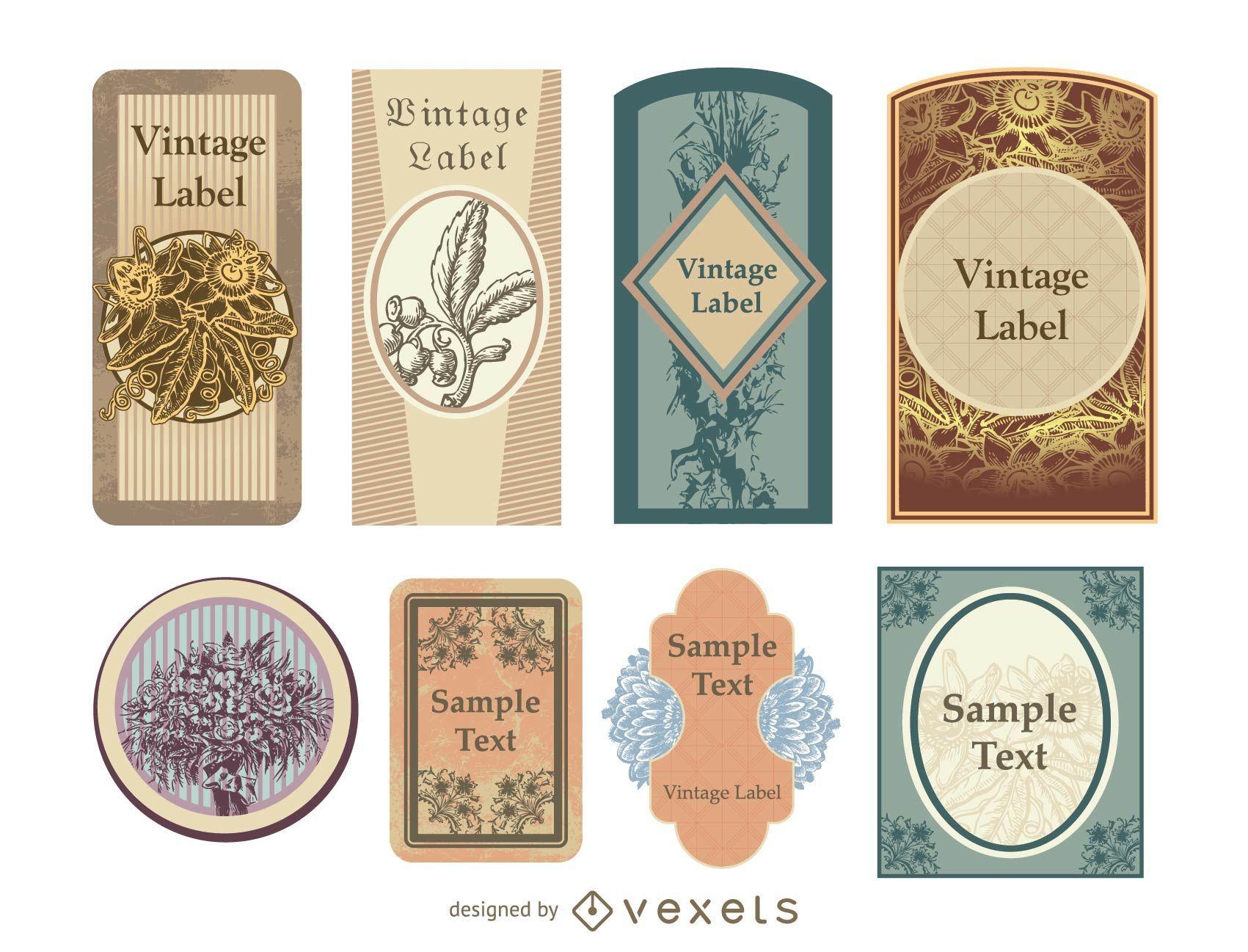 Decorative Vintage Label Pack Vector Download