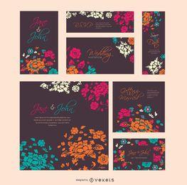Molde do casamento floral em tamanhos serveral