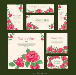 Rosas invitaciones de boda en varios formatos.