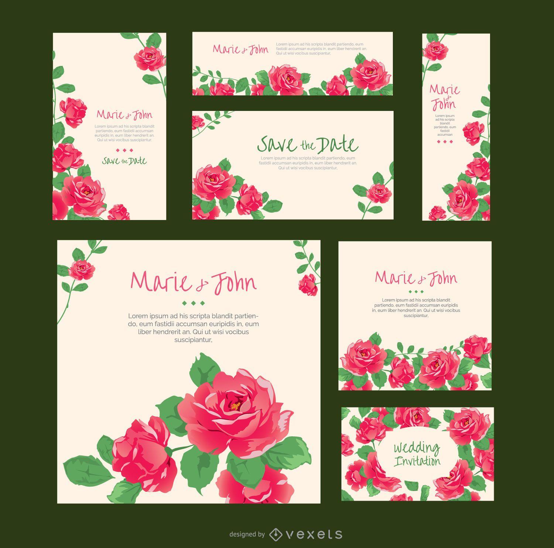 rosas invitaciones de boda en varios formatos