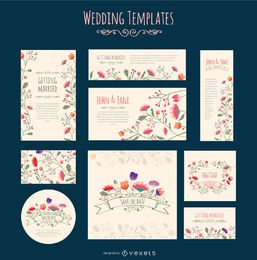 Plantilla de flores de invitación de boda