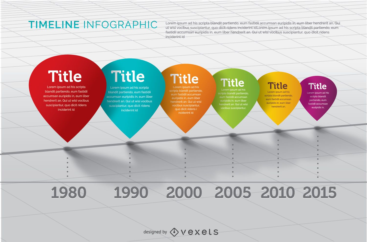 Colorful perspectived timeline