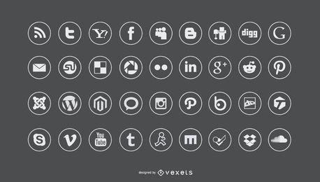 Ícones de mídia social planas definido
