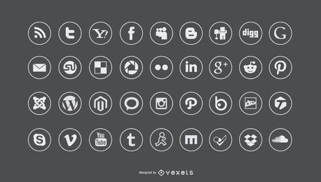 Conjunto de iconos de redes sociales plana