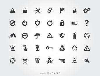 Conjunto de iconos de advertencia de seguridad de seguridad