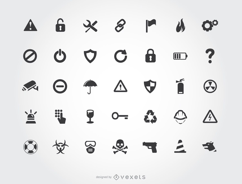 Conjunto de ícones de alerta de segurança