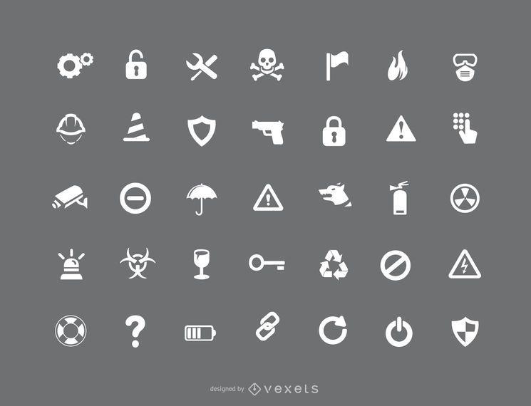 Conjunto de ícones de precaução e segurança