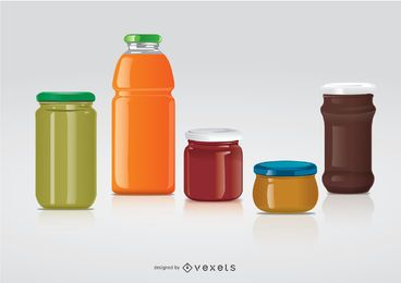 frascos de vidrio para juego de etiquetas