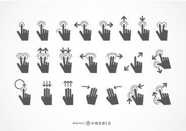 Conjunto de iconos de gestos táctiles