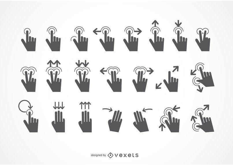 Touch gestures icon set