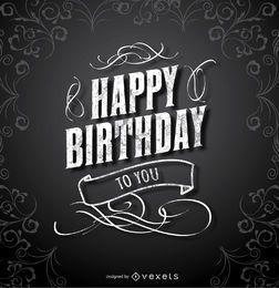 Feliz cumpleaños tarjeta elegante negro