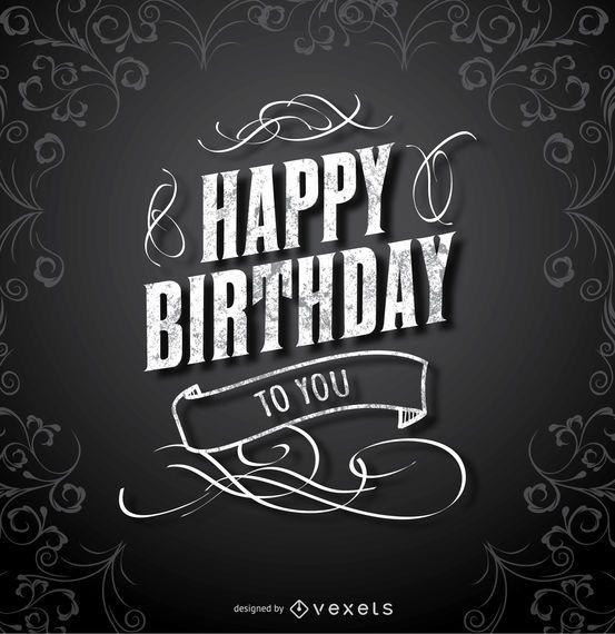 Happy Birthday Black Elegant Card Vector Download