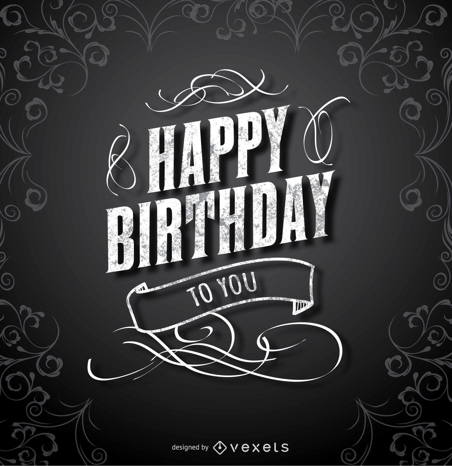 Feliz cumpleaños tarjeta elegante negra