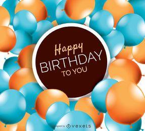 Cartão feliz de balões de aniversário