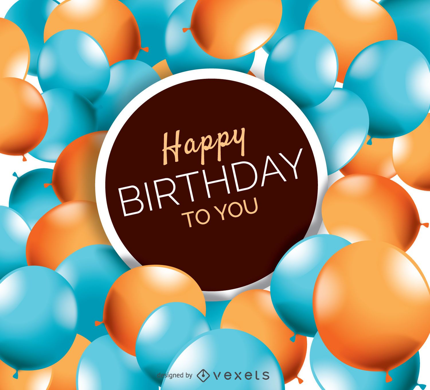 Happy Birthday Balloons Card Vector Download