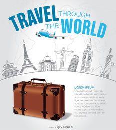Diseño de viaje con hitos dibujados a mano.