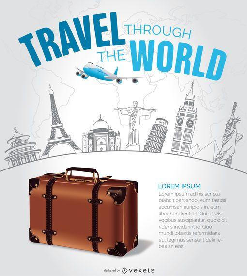 Travel design with hand drawn landmarks