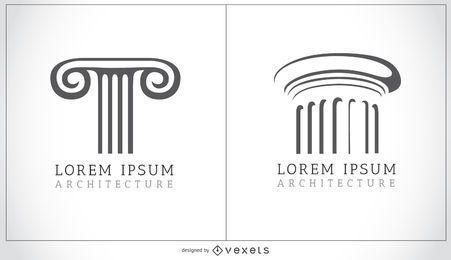 Logotipo de columnas dóricas y jónicas