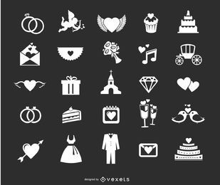Ícones de casamento set