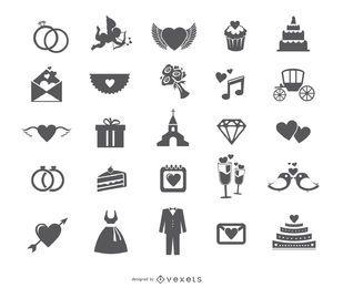 Conjunto de ícones web casamento