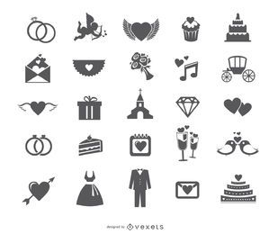 Wedding web icon set