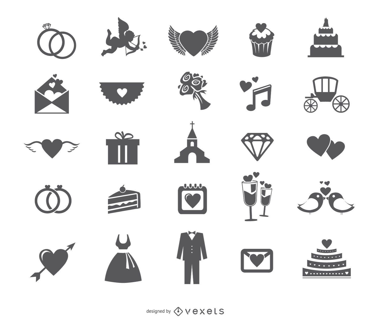 Wedding web icon set