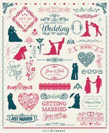 Conjunto de elementos de casamento - emblemas, silhuetas, emblemas e ornamentos