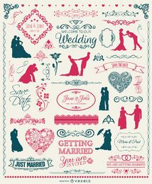 Wedding Elements Set - badges, silhouettes, emblems and ornaments