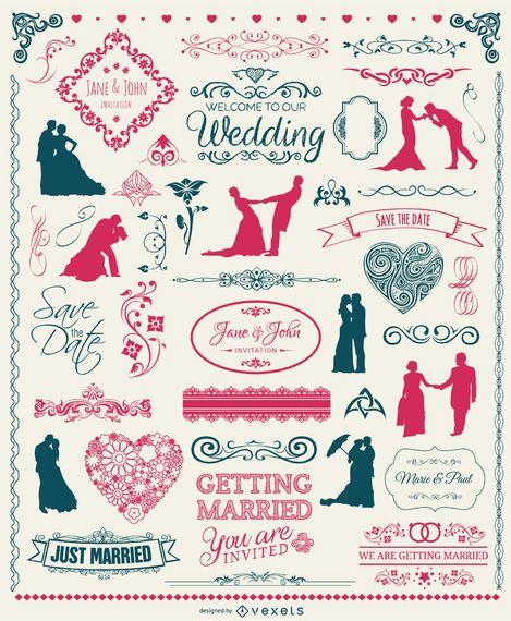 Conjunto de elementos de boda - insignias, siluetas, emblemas y adornos.