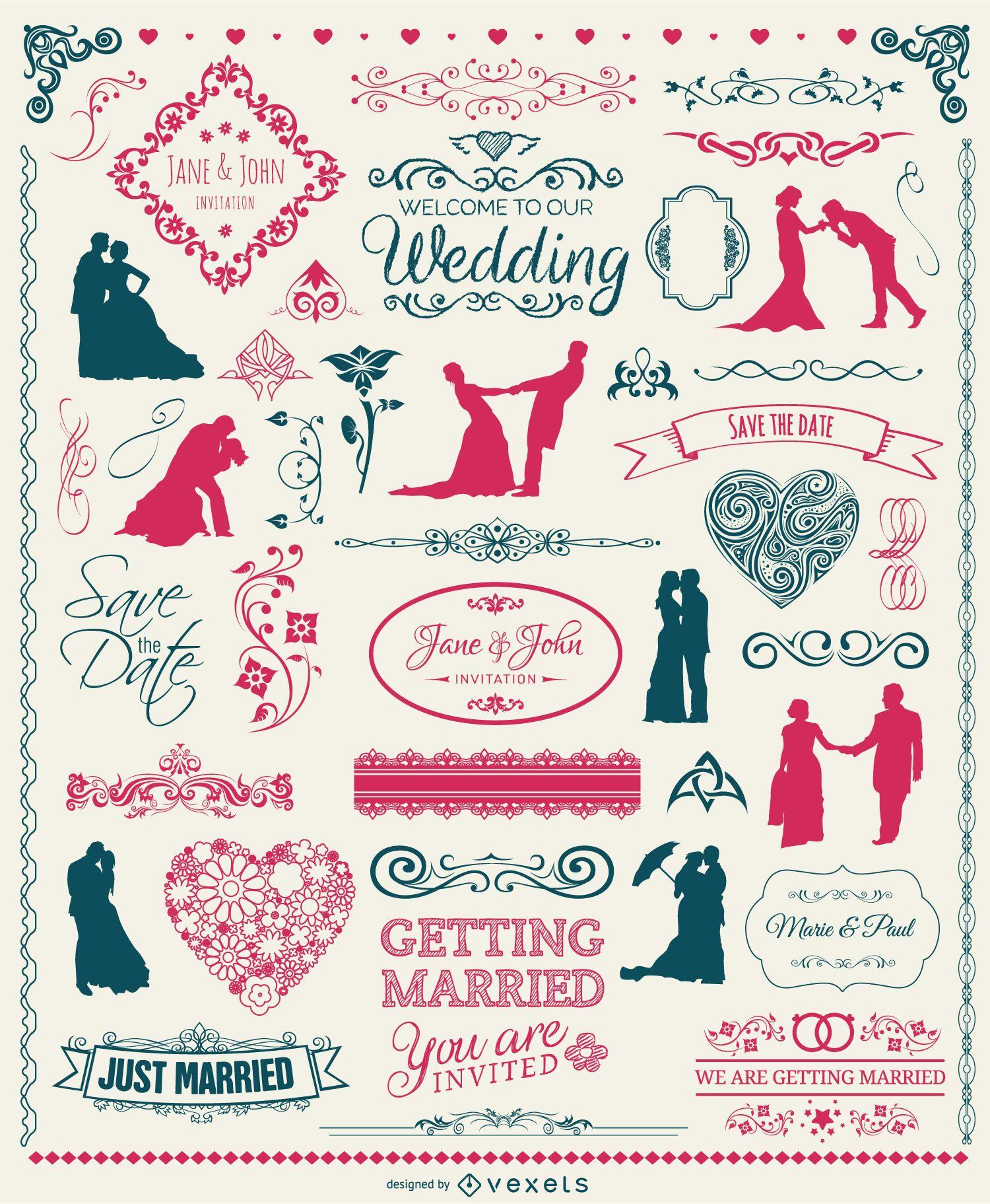 Wedding Elements Set - badges silhouettes emblems and ornaments