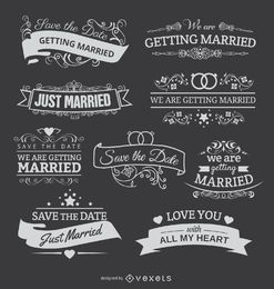 9 Chalk emblems for wedding invitations