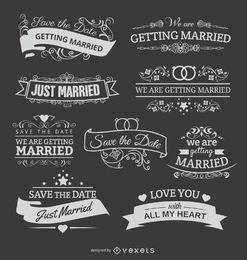 9 Kreide-Embleme für Hochzeitseinladungen